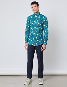 Men's Curtis Turquoise Oriental Floral Slim Fit Shirt - High Collar - Single Cuff