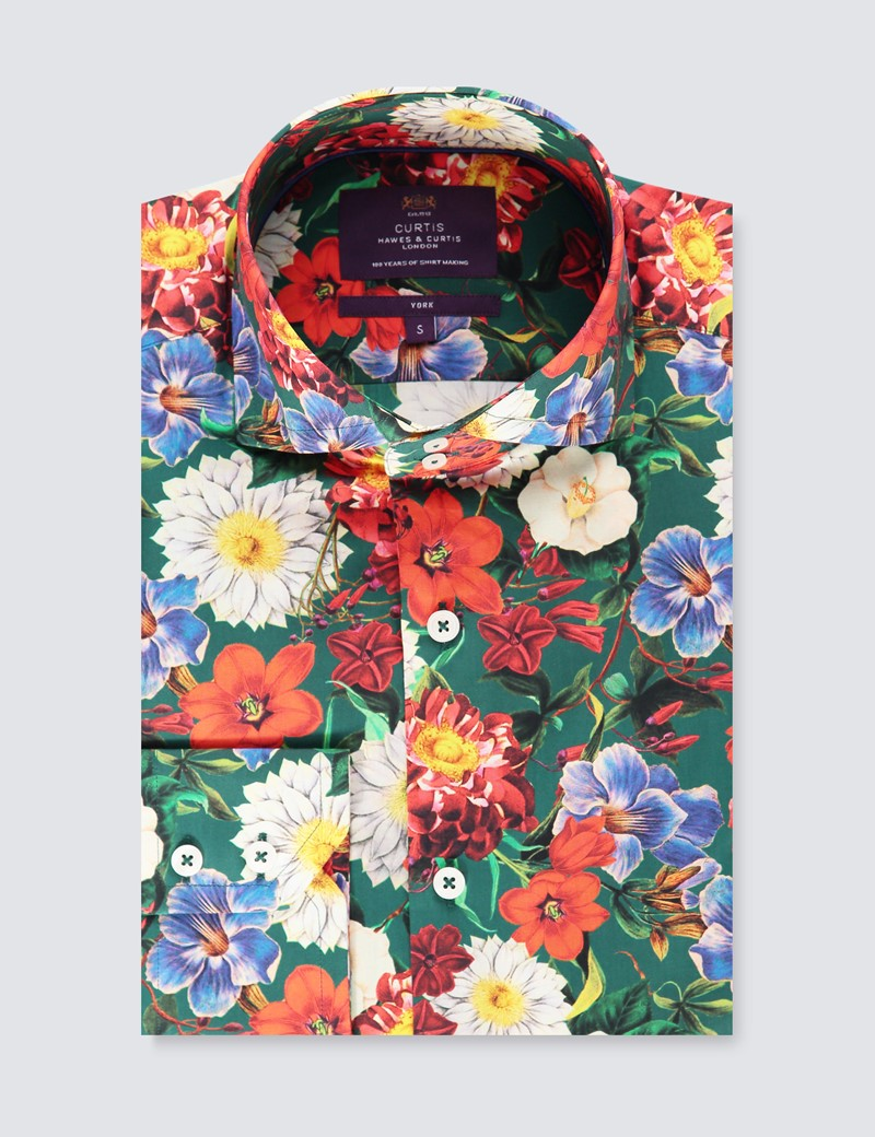 Men's Curtis Green & Red Floral Slim Fit Shirt - High Collar - Single Cuff