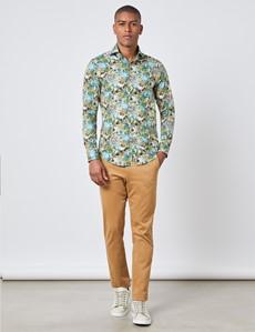 Men's Curtis Grey & Blue Horse & Floral Print Slim Fit Shirt - High Collar - Single Cuff
