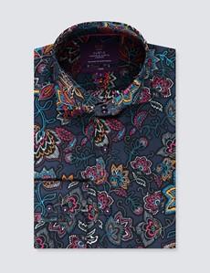 Men's Curtis Navy & Fuchsia Floral Slim Fit Shirt - High Collar - Single Cuff