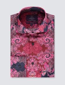 Men's Curtis Burgundy & Navy Paisley Slim Fit Shirt - High Collar - Single Cuff