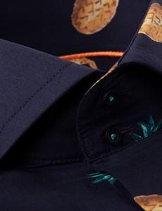 Men's Curtis Navy & Orange Pineapple Print Slim Fit Shirt - High Collar - Single Cuff