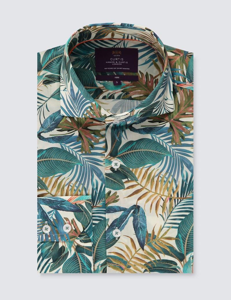 Men's Curtis Cream & Blue Tropical Vintage Leaves Print Slim Fit Shirt - High Collar - Single Cuff