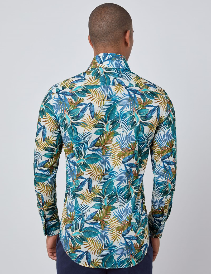 Men's Curtis Cream & Blue Tropical Vintage Leaves Print Relaxed Slim Fit Shirt - High Collar - Single Cuff