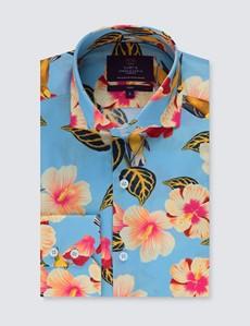 Men's Curtis Blue & Pink Tropical Floral Slim Fit Shirt - High Collar - Single Cuff