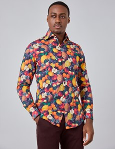 Men's Curtis Purple & Orange Fruits Print Relaxed Slim Fit Shirt - High Collar - Single Cuff