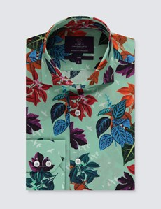 Men's Curtis Mint Green & Blue Floral Relaxed Slim Fit Shirt - High Collar - Single Cuff