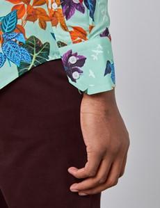 Men's Curtis Mint Green & Blue Floral Slim Fit Shirt - High Collar - Single Cuff