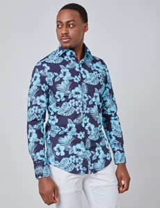 Men's Curtis Navy & Blue Floral Print Slim Fit Shirt - High Collar - Single Cuff