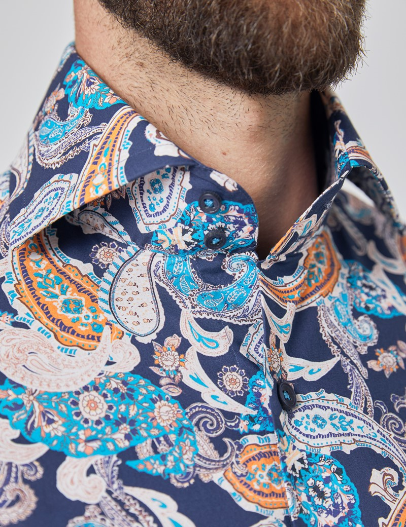 Men's Curtis Blue & Yellow Paisley Relaxed Slim Fit Shirt - High Collar - Single Cuff