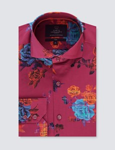 Men's Curtis Burgundy Roses Print Relaxed Slim Fit Shirt - High Collar - Single Cuff