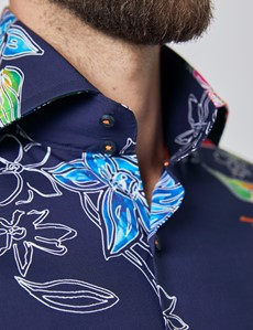 Men's Curtis Navy & Orange Hawaiian Flowers Relaxed Slim Fit Shirt - High Collar - Single Cuff