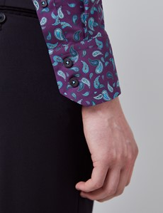 Men's Curtis Purple & Turquoise Mini Paisley Relaxed Slim Fit Shirt - High Collar