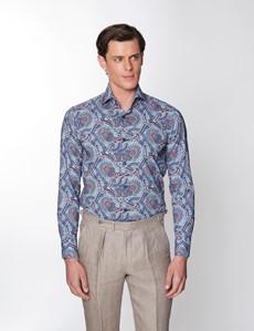 Men's Curtis Blue & Brown Paisley Poplin Slim Fit Shirt - High Collar