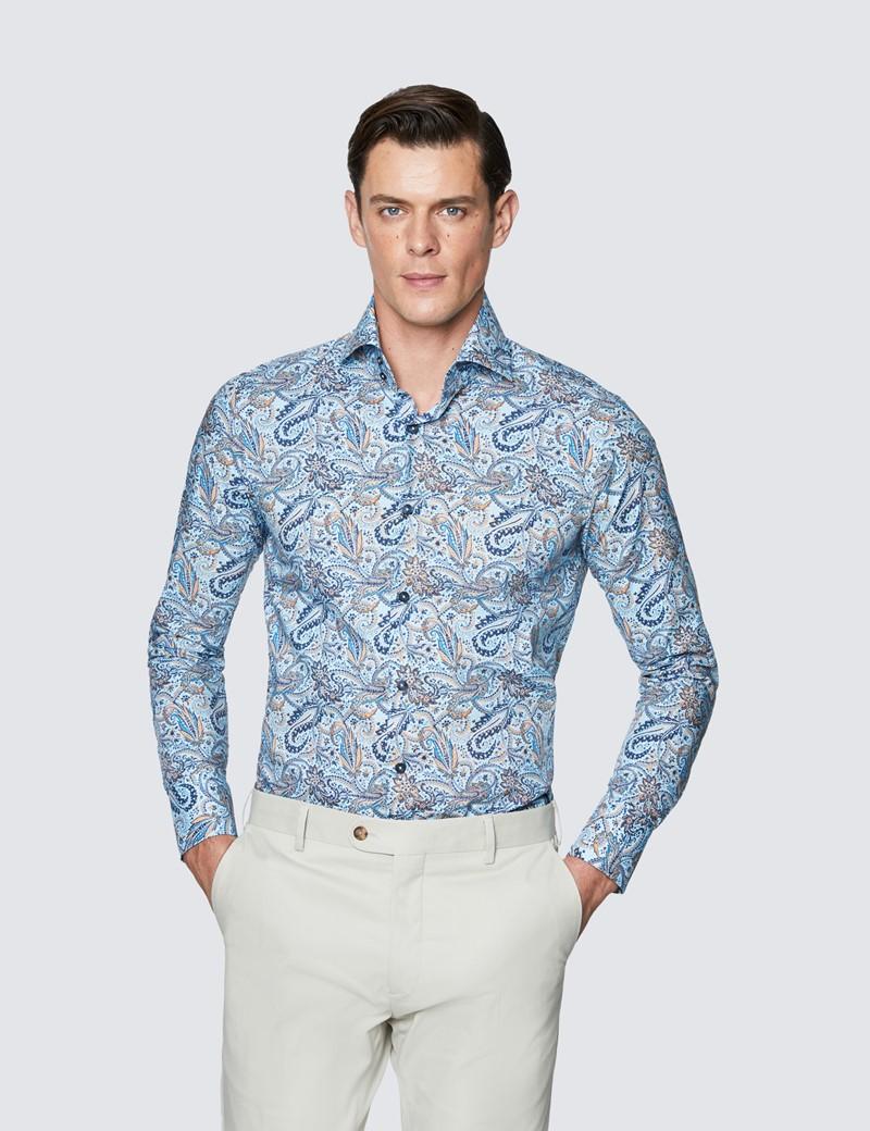 Men's Curtis Navy & Yellow Paisley Poplin Slim Fit Shirt - High Collar