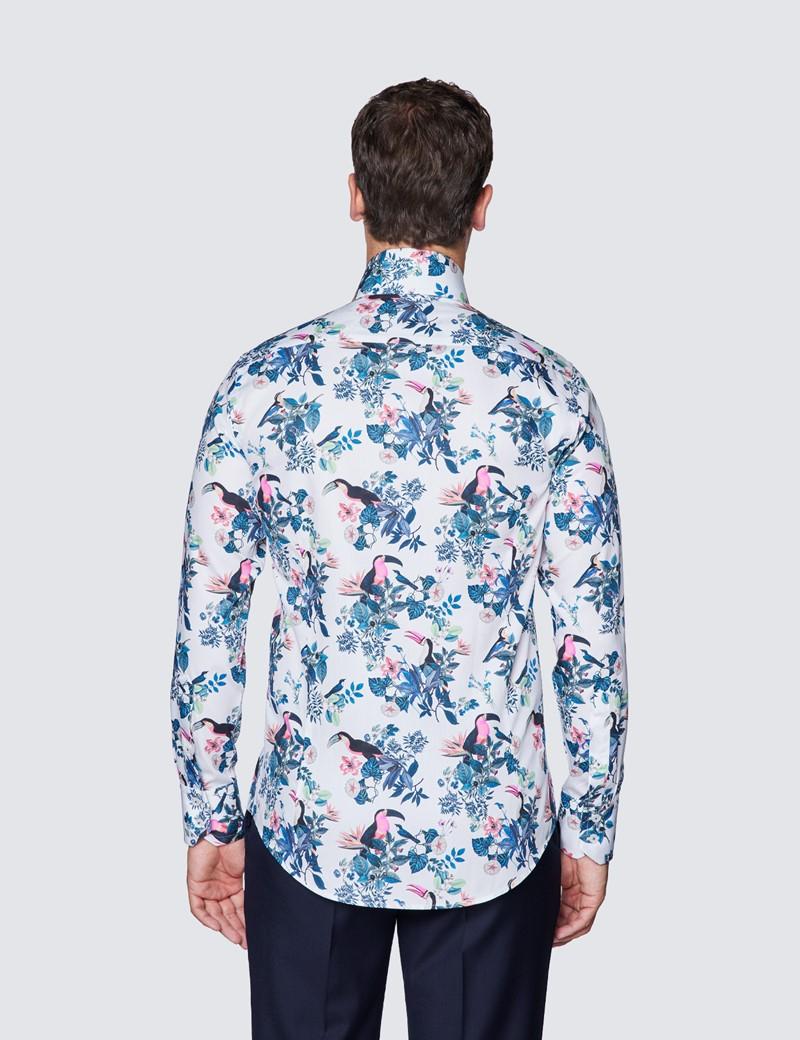 Men's Blue & White Diamond Weave Slim Fit Shirt - High Collar
