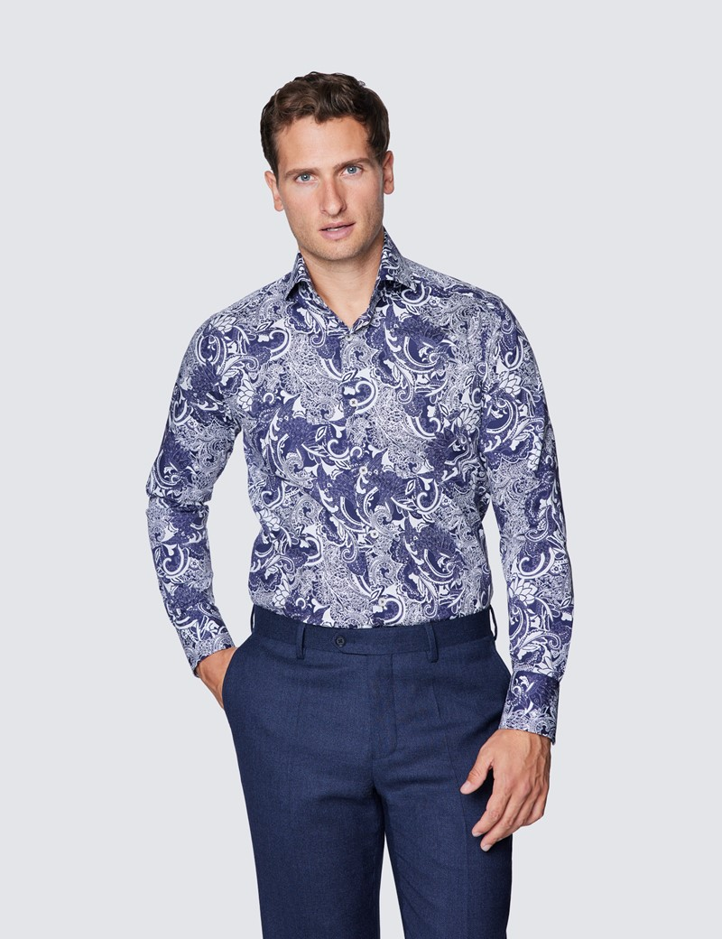 Men's Curtis Navy & White Paisely Print Cotton Stretch Shirt - High Collar