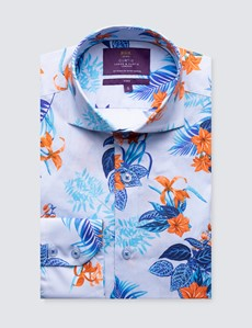 Men's Curtis Pale Blue & Orange Floral Print Cotton Stretch Shirt - High Collar