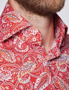 Men's Curtis Red & Blue Paisley Print Stretch Slim Fit Shirt - High Collar