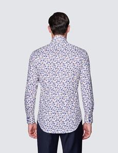 Men's Curtis Cream and Blue Floral Print Cotton Stretch Shirt - High Collar