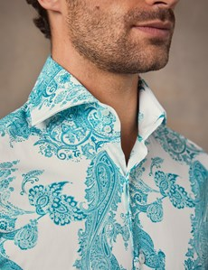 Men's Curtis White & Turquoise Paisley Print Slim Fit Shirt - High Collar - Single Cuff