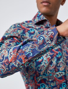 Men's Curtis Orange & Blue Paisley Slim Fit Shirt - High Collar - Single Cuff
