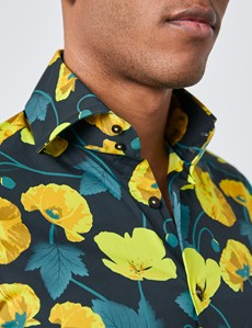 Men's Curtis Turquoise & Yellow Floral Slim Fit Shirt - High Collar - Single Cuff
