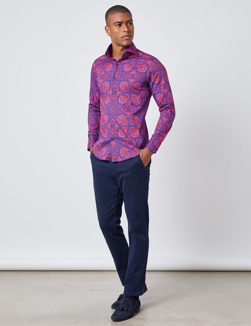 Men's Curtis Blue & Fuchsia Paisley Floral Slim Fit Shirt - High Collar - Single Cuff