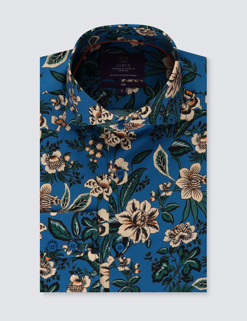 Men's Curtis Blue & Green Floral Stretch Slim Fit Shirt - High Collar - Single Cuff