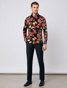 Men's Curtis Black & Orange Bright Floral Slim Fit Shirt - High Collar - Single Cuff