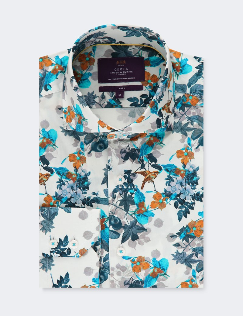 Men's Curtis White & Blue Floral Stretch Slim Fit Shirt - High Collar - Single Cuff