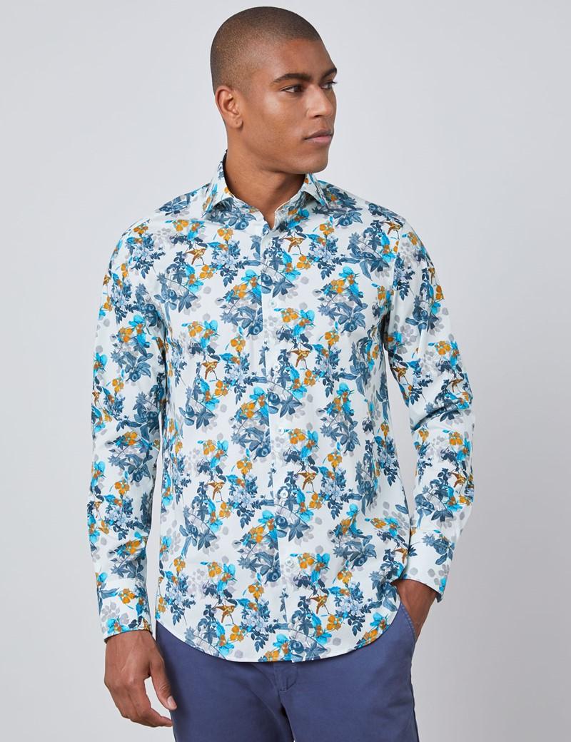 Men's Curtis White & Blue Floral Slim Fit Shirt - High Collar - Single Cuff