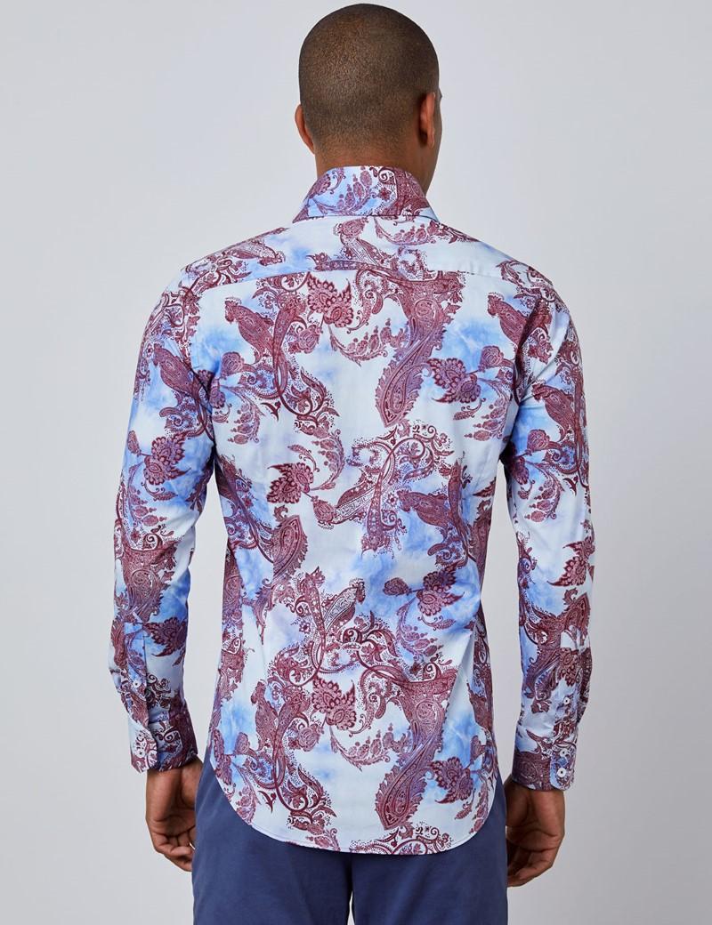 Casual Stretchhemd – Slim Fit – Hoher Kragen – weinrot & hellblau Paisley