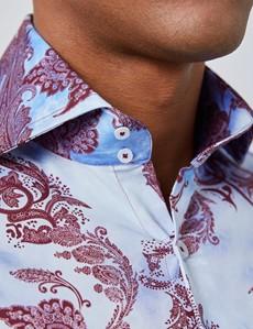 Men's Curtis Burgundy & Blue Paisley Slim Fit Shirt - High Collar - Single Cuff