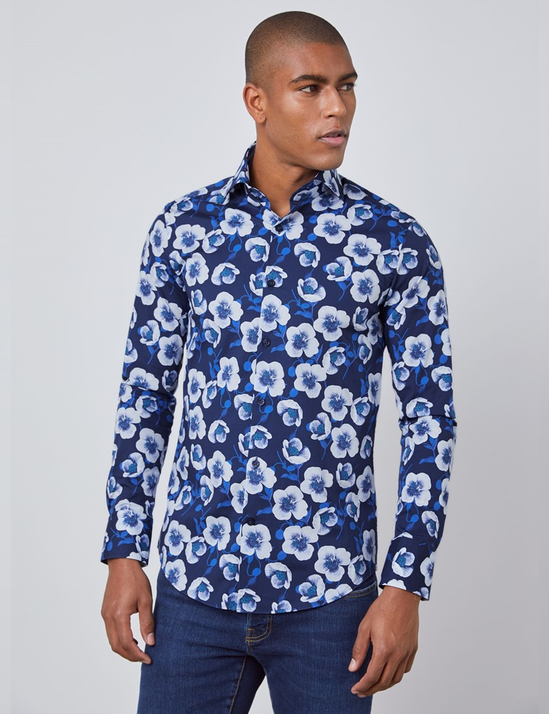 Men's Curtis Navy & Blue Floral Slim Fit Shirt - High Collar - Single Cuff