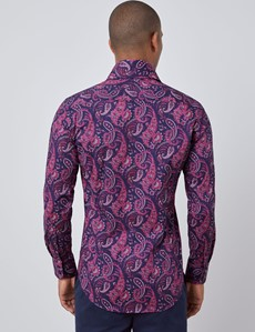 Men's Curtis Navy & Pink Paisley Slim Fit Shirt - High Collar - Single Cuff