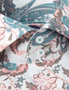 Men's Curtis White & Turquoise Vintage Paisley Stretch Slim Fit Shirt - High Collar - Single Cuff