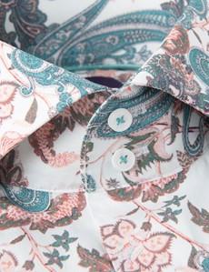Casual Stretchhemd – Stretch Slim Fit – Hoher Kragen – weiß & grün Vintage Paisley