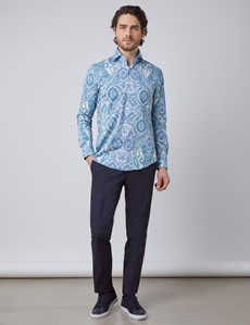 Men's Curtis White & Blue Paisley Stretch Slim Fit Shirt - High Collar - Single Cuff
