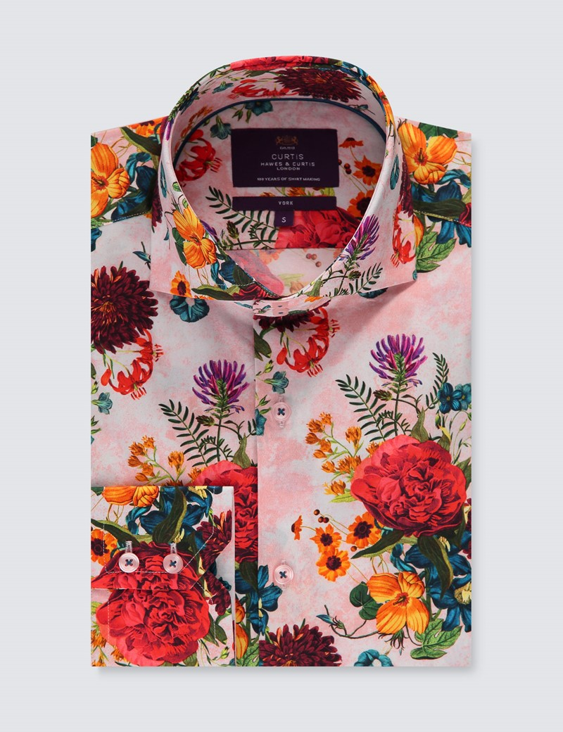 Men's Curtis Pink & Red Textured Floral Slim Fit Shirt - High Collar - Single Cuff