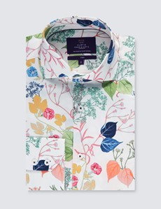 Men's Curtis White & Green Floral Slim Fit Shirt - High Collar - Single Cuff