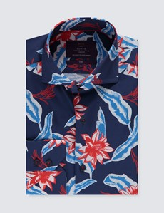 Men's Curtis Navy & Red Floral Slim Fit Shirt - High Collar - Single Cuff