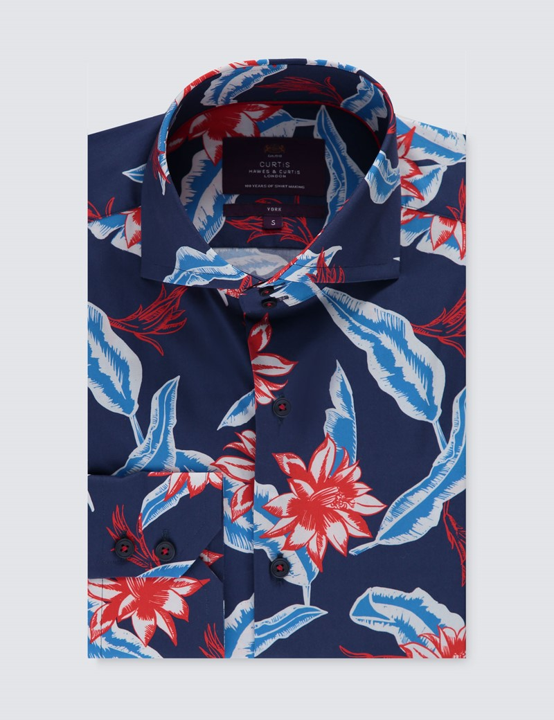 Men's Curtis Navy & Red Floral Stretch Slim Fit Shirt - High Collar - Single Cuff