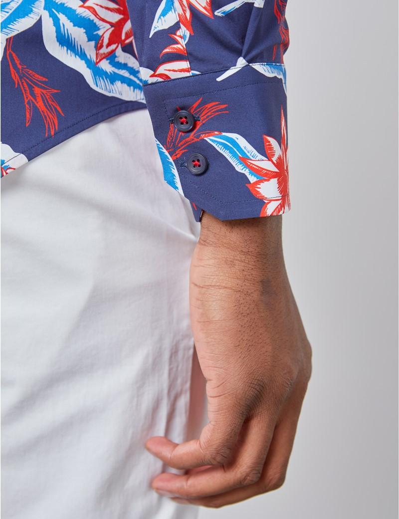 Casual Stretchhemd – Stretch Slim Fit – Hoher Kragen – navy & rot Blumen & Blätter