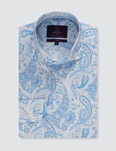 Casual Stretchhemd – Stretch Slim Fit – Hoher Kragen – weiß & blau Paisley