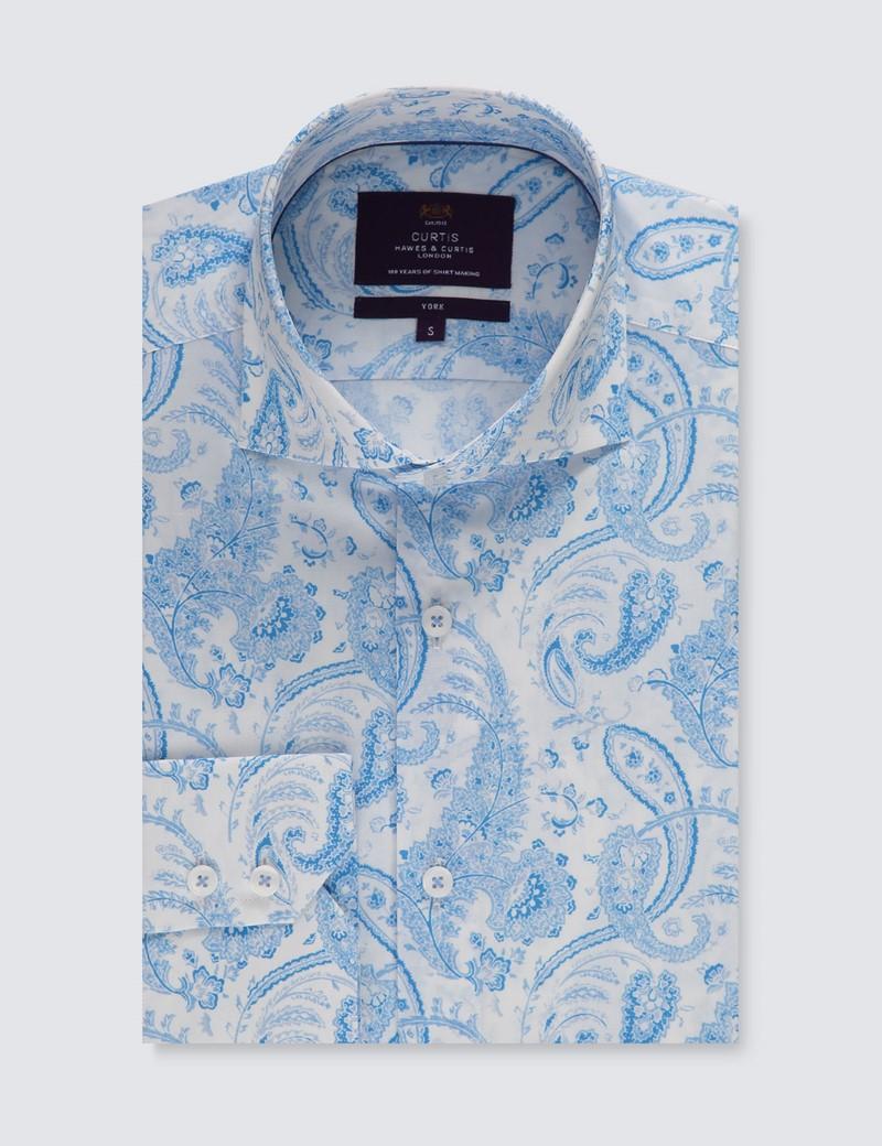 Men's Curtis White & Light Blue Paisley Slim Fit Shirt - High Collar - Single Cuff