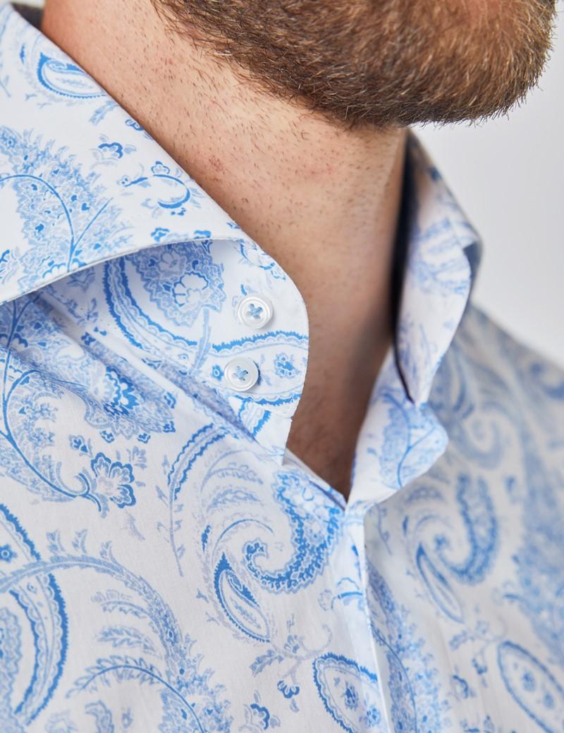 Men's Curtis White & Light Blue Paisley Stretch Slim Fit Shirt - High Collar - Single Cuff