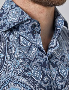 Casual Stretchhemd – Stretch Slim Fit – Hoher Kragen – blau Paisley
