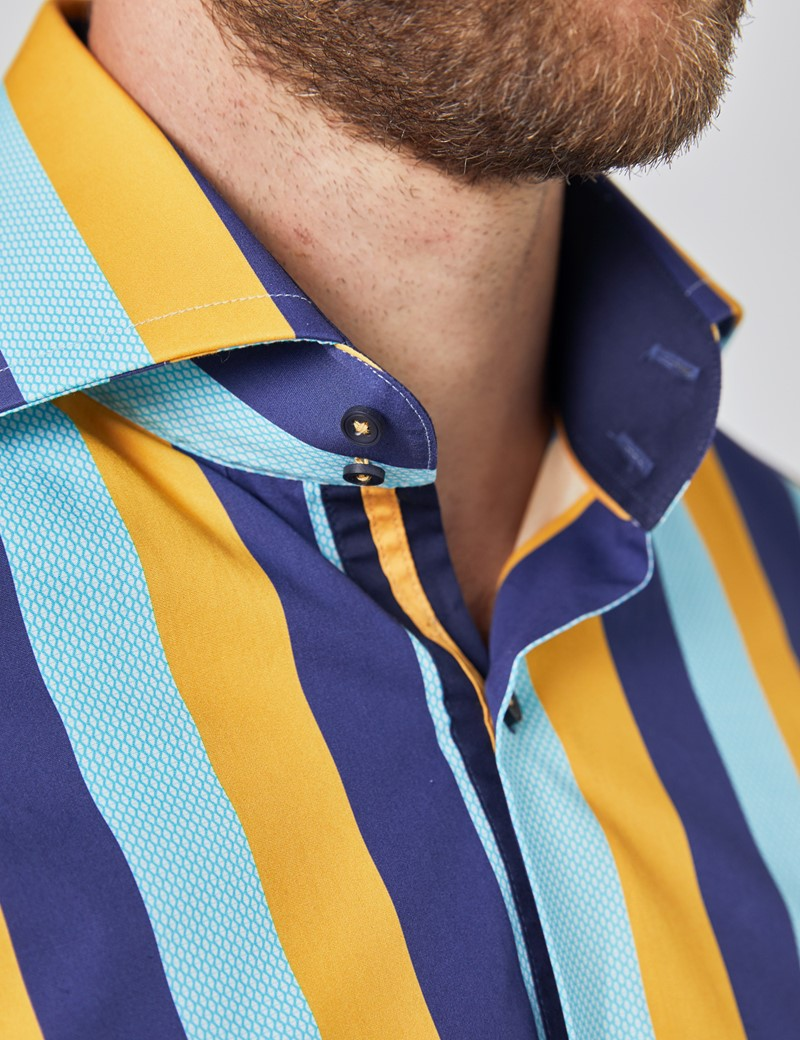 Men's Curtis Navy & Yellow Textured Stripes Slim Fit Shirt - High Collar - Single Cuff