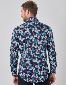 Men's Curtis Black & Pink Butterflies Print Stretch Slim Fit Shirt - High Collar - Single Cuff